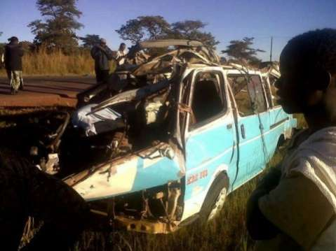 Accident Scene with Toyota Hiace minibus in which perished in Chibombo accident