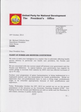 Open Letter to President Sata-Plight of Nurses