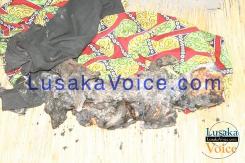 Remains of a five year old boy whose mother set the house ablaze in Shangombo District of Western Province after she returned from a drinking spree. -  Lusakavoice.com