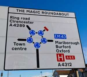 The Swindon roundabout is a large roundabout surrounded by five mini satellites