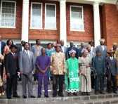 President Sata poses for a photo with chiefs from North-western, Eastern and Central Provinces