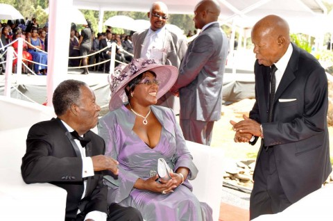 President Sata and First Lady Dr Christine Kaseba speaks with former Botswana president Sir Ketumile Masire during the wedding ceremony of Bona Mugabe (second from right)
