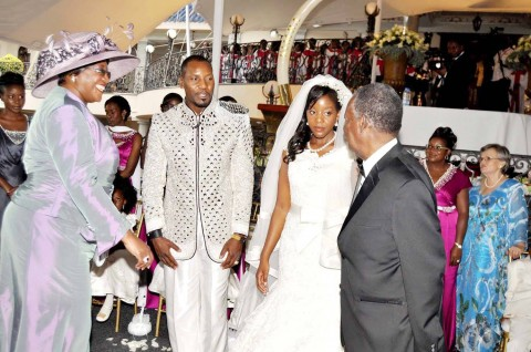 President Sata with First Lady Dr Christine Kaseba (l) during the wedding ceremony of Bona Mugabe (second from right), Daughter to Robert Mugabe , President of the Republic of Zimbabwe and her husband Simba in Harare