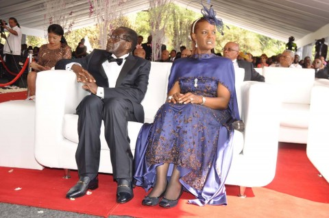 Zimbabwean President Robert Mugabe and First Lady Grace Mugabe during the wedding ceremony of their daughter Bona Mugab