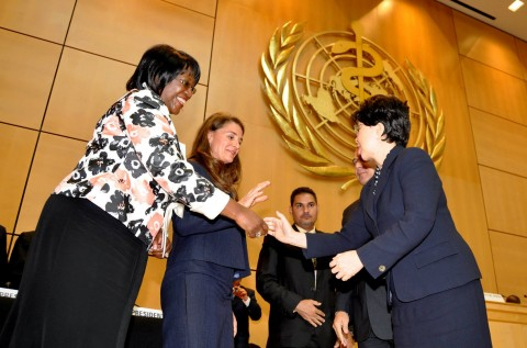 First Lady Dr Christine Kaseba and Melinda Gates (second from left) being congratulated by WHO Director-General Margaret Chan (r) after their Key note address to the World Health Assembly at UN Building in Geneva on May 21,2014