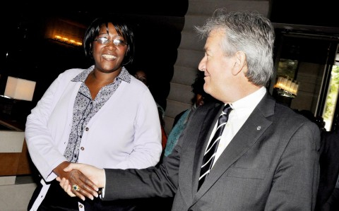 First Lady Dr Christine Kaseba being welcomed by InterContinental -Geneva Director General Jurgen Baumhoff (r) on arrival at the Hotel