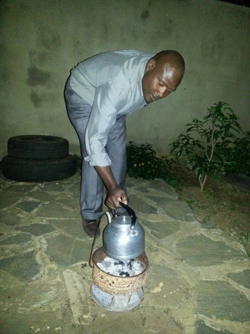 Former ZESCO board chairperson boiling water for tea in Makeni, Lusaka this evening when power went where it goes when it goes.