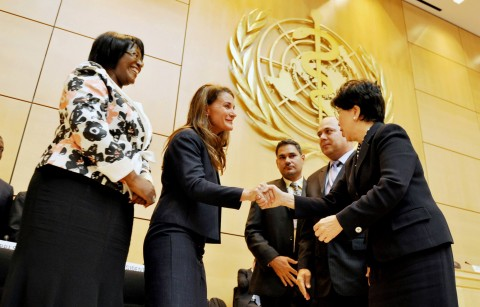 Melinda Gates and First Lady Dr Christine Kaseba being congratulated by WHO Director-General Margaret Chan (r) and WHO president Roberto Morales Ojeda (second from right) after delivering their speeches at World Health Assembly