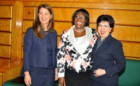 Melinda Gates (l) with WHO Director-General Margaret Chan (r) and First Lady Dr Christine Kaseba shortly before delivering their key note address to the World Health Assembly at UN Building in Geneva on May 20,2014