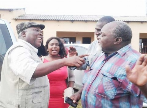 NORTHERN Province Minister Freedom Sikazwe (left) and United Party for National Development (UPND) Moomba Member of Parliament Vitalis Mooya (right)