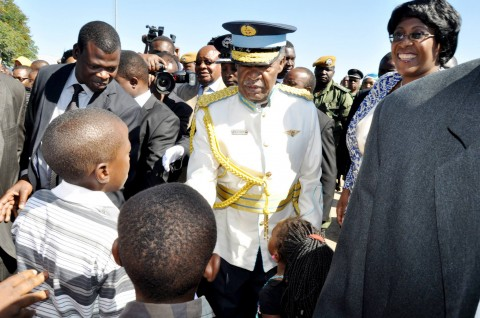 President Sata during the ZAF commissioning Parade in Livingstone on May 9,2014 -Picture by THOMAS NSAMA