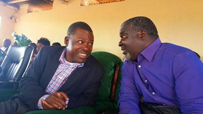 Mr Kabimba with  Lupososhi Member of Parliament Lazarous Chungu Bwalya in Luwingu