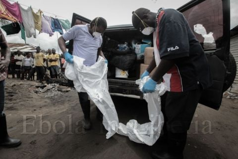 Members of the team are watched as they put on protective overalls - Ebola crisis in Liberia
