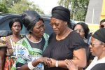 First Lady Dr Christine Kaseba being comforted by Gender minister Inonge Wina (l) on arrival at Lusaka Show grounds for the gathering to Celebrate President Sata's life on Nov 6,2014 -Picture by THOMAS NSAMA