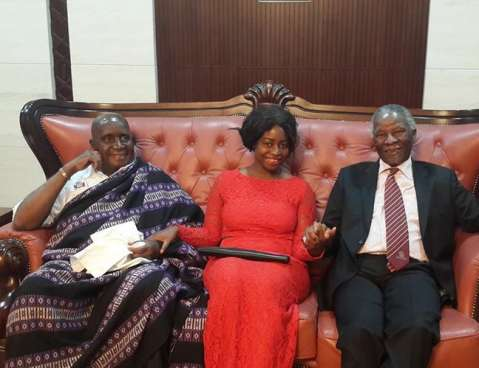 Stella Mutale Sata With H.E Dr. Kenneth Kaunda (1st President of Zambia) and H.E Thabo Mbeki (Former President of South Africa) at the Zambian Jubilee Celebrations