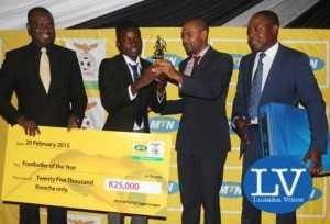 Player of the Year- From left Acting MTN CEO Clement Asante,  Ronald Kampamba , Minister of Sport Vincent Mwale and FAZ President Kalusha  Bwalya - Image Credit - Jean Mandela