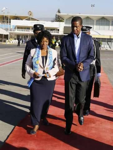 President Edgar Chagwa Lungu (right) talks to First Lady,Esther at Bole International Airport in Ethiopia on Sunday,February 1,2015. PICTURE BY SALIM HENRY:STATE HOUSE