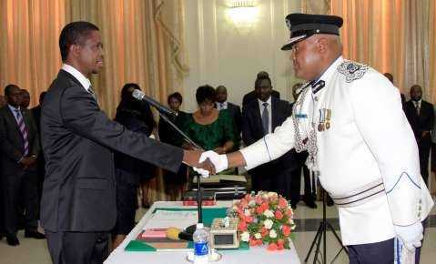President Edgar Lungu during the Swearing in Ceremony of Mr Auxensio Daka, Commissioner of Police Muchinga Province at Statehouse on Thursday, 19-02-2015 PICTURE BY EDDIE MWANALEZA:STATEHOUSE.