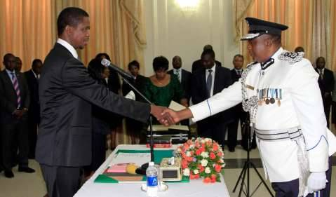 President Edgar Lungu during the Swearing in Ceremony of Mr Malcom Mutale Mulenga, Deputy Inspector General of Police in charge of operations at State House on Thursday, 19-02-2015- PICTURE BY EDDIE MWANALEZA:STATEHOUSE.