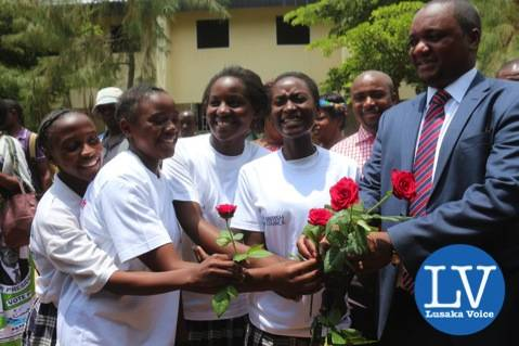Some Matero Girls pupils offering Miles Sampa some flowers after the said launch!      - Photo Credit Jean Mandela - Lusakavoice.com