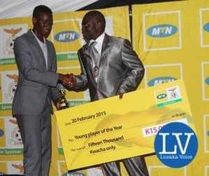 Young player- Larry Bwalya and Kitwe mayor Kelvin Sinyangwe    - Image Credit - Jean Mandela