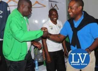 FAZ President Kalusha Bwalya congratulating ZESCo coach George Lwandamina - Photo Credit Jean Mandela - Lusakavoice.com