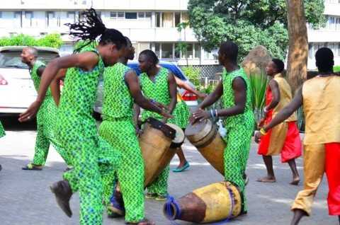 Passionate dancers exhibiting their skills at The Zambian Traditional Musical Instruments Exhibition at the ongoing LICAF in Livingstone.
