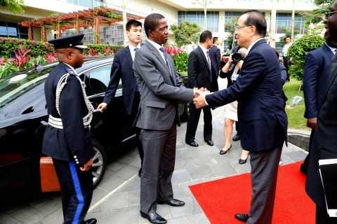 President Edgar Lungu Greets Mr David Ying General Manager of MGM Grand Hotel in Sanya, China on Friday 27-03-2015 -PICTURE BY EDDIE MWANALEZA:STATEHOUSE.