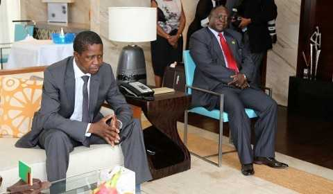President Edgar Lungu talks to Zambia army Commander Lt Gen Paul Miyova of MGM Grand Hotel in Sanya ,China on Friday 27-03-2015 -PICTURE BY EDDIE MWANALEZA:STATEHOUSE.