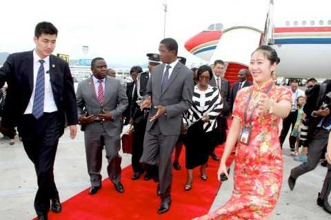 President Edgar Lungu with Foreign affairs minister Harry Kalaba on arrival at Sanya Phoenix International Airport for Boao forum in Hainan Province of China on March 27,2015 -Picture by THOMAS NSAMA