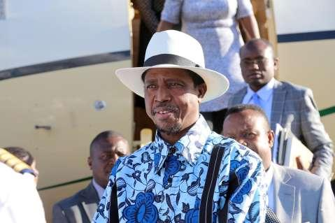 President Lungu upon arrival at Lusaka's Kenneth Kaunda International Airport from South Africa on March 15,2015 -Picture by EDDIE MWANALEZA