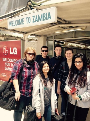 Sonia and the rest of 'Team Zambia' land at the airport