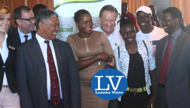 Janina Baalmann,  Didier Coeln ,  Given Lubinda , Boxers Esther Phiri and Catherine Phiri, Peter Cottan, Mike Zulu and  Sikota Mwanang'ombe .jpg