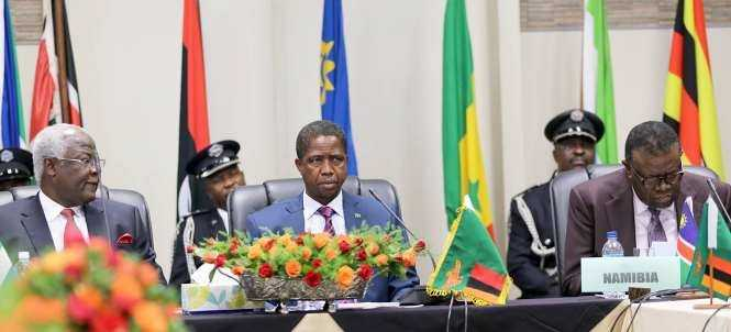 President Edgar Chagwa Lungu his Sierra Leone Counterpart Ernest Koroma and Namibia's President Hage Geingob after the official opening of the African AU Committee of Ten Heads of State Summit