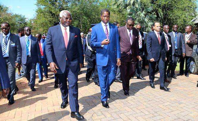 President Edgar Chagwa Lungu his Sierra Leone Counterpart Ernest Koroma and Namibia's President Hage Geingob after the official opening of the African AU Committee of Ten Heads of State on the UN Reforms of the Security Council at David Livingstone Safari Lodge in Livingstone, Zambia on Friday, May 9,2015 -PICTURE BY EDDIE MWANALEZA