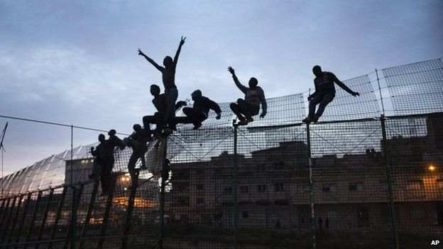 Thousands of people cross fences into Ceuta and Melilla every year