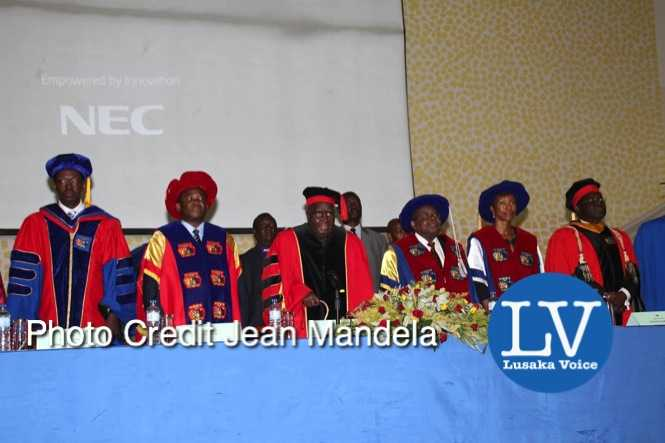 KK and and former Tanzanian President Benjamin Mkapa officiate at the Cavendish University Graduation Ceremony  - Photo Credit Jean Mandela - Lusakavoice.com