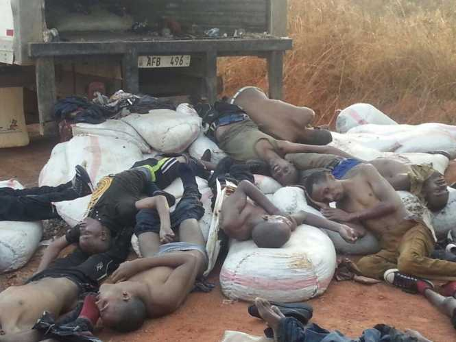 Zambia- 15 SOMALIANS DIE IN  A CONTAINER - 30 survivors narrated that the were transfered from another truck and were picked from Kasama but the new truck had no ventilation which made their colleagues suffocate to death.