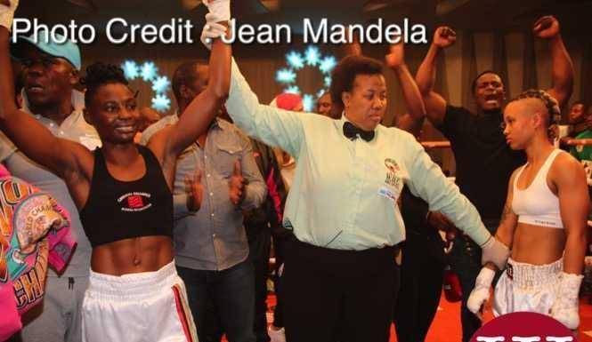 WBC Referee. Judge Silvia Mokaila. declaring Catherine Phiri a winner.