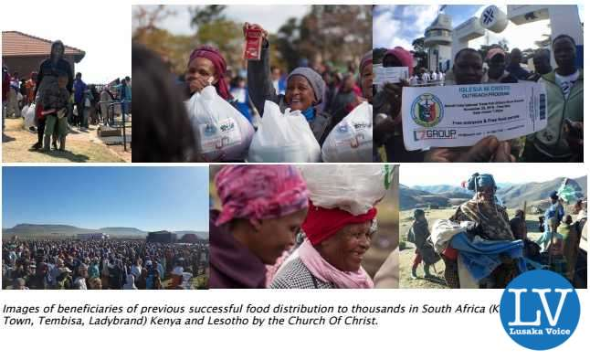 Images of beneficiaries of previous successful food distribution to thousands in South Africa (King Williams  Town, Tembisa, Ladybrand) Kenya and Lesotho by the Church Of Christ.