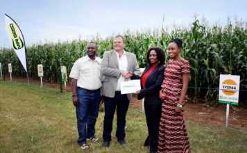 Caption L-R- Paul Kapapula Head of Sales Syngenta Zambia, Ernest Myburgh - Head of Syngenta Zambia, Anafrida Bwenge - Feed the Future Division Chief USAID Zambia, Ndekazi Olive Kaluwa - Private Sector Development Specialist USAID Zambia